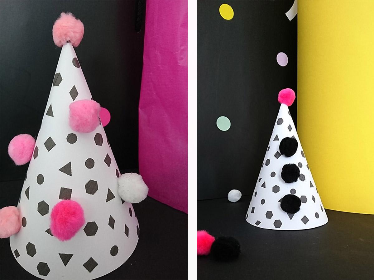 Partyhüte verzieren - mit Stickern, PomPoms oder Masking-Tape